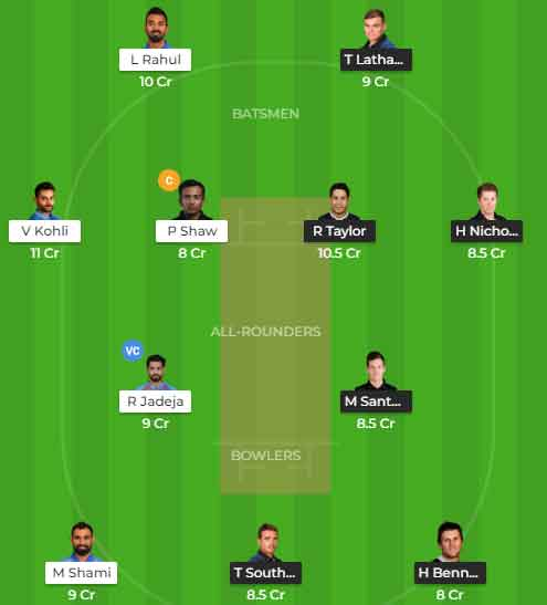 New Zealand vs India 2nd ODI Dream11 Team
