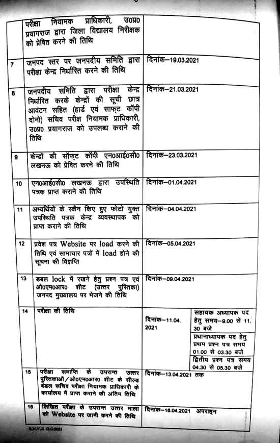 UP Junior Teacher Vacancy 2021 Form, Fee, G.O., Notification & Important Dates 5